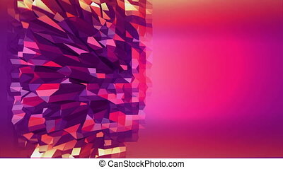 Violet abstract low poly waving surface as fashion environment. Violet abstract geometric vibrating environment or pulsating background in cartoon low poly popular modern stylish 3D design. Free space
