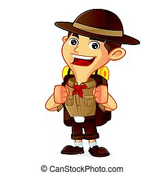 Boy scout cartoon carrying backpack isolated in white...