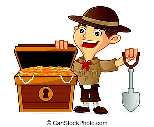 Boy scout cartoon finding treasure isolated in white...