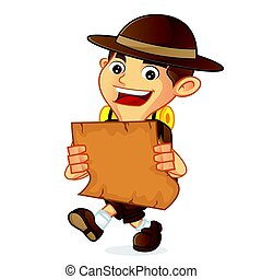 Boy scout cartoon holding a map isolated in white background