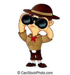 Boy scout cartoon holding binocular isolated in white...