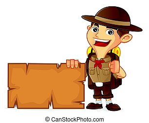 Boy scout cartoon holding blank sign isolated in white...