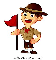 Boy scout cartoon holding flag isolated in white background