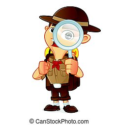 Boy scout cartoon holding magnifying glass isolated in white...
