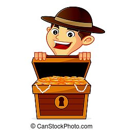 Boy scout cartoon opening treasure isolated in white...