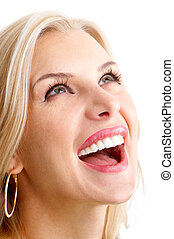 smiling woman - Beautiful young smiling woman. Isolated over...