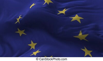 Europe Union Flag - Flag of Europe Union blowing on the...