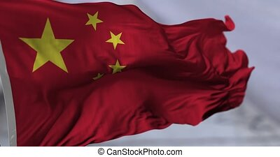 Flag of China blowing on the wind, close up looped...