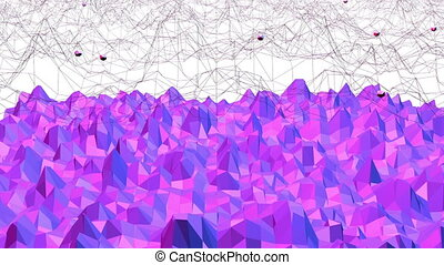 Violet abstract low poly waving surface as psychedelic...