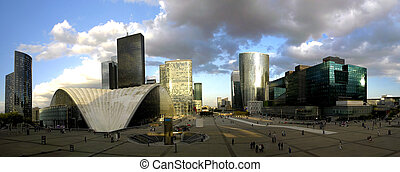 La Defense panoramic, Paris - Modern skyscraper in La...