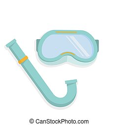 Scuba mask and snorkel for diving, colorful flat...