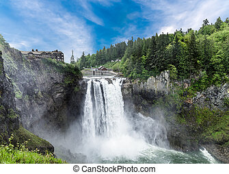 Dramatic Snoqualmie Falls - Snoqualmie Falls near Seattle,...