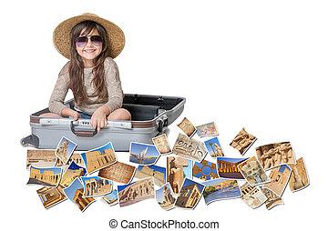 Smiling little girl travel Egypt concept