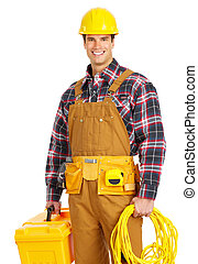 electrician - Young handsome electrician in yellow uniform....
