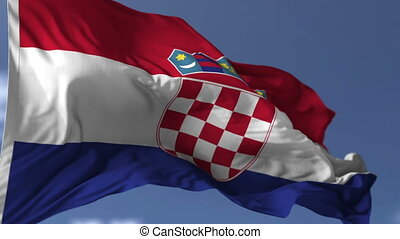 Flag of Croatia blowing on the wind, close up looped...