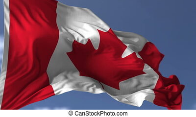 Canadian Blowing Flag - Canadian flag blowing on the wind,...