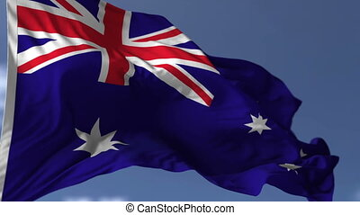 The Australian Flag - Flag of Australia blowing on the wind,...