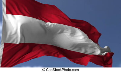 Austria Flag Against Blue Sky - Flag of Austria blowing on...