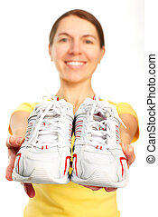 Woman, running shoes