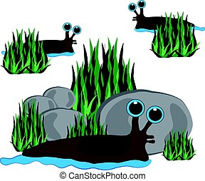 Slugs isolated on white background. Vector illustration.