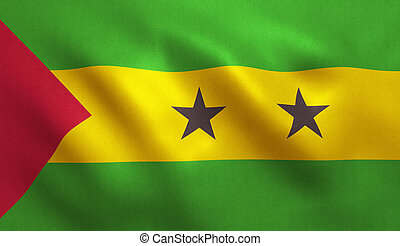 Sao Tome and Principe Flag - Sao Tome flag with fabric...