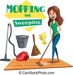 House mopping and sweeping vectro poster - Mopping and...
