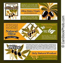 Olive oil extra virgin product banners vector set - Olive...