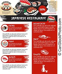 Vector menu for Japanese sushi food restaurant - Sushi menu...