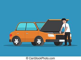 Businessman repair the car.