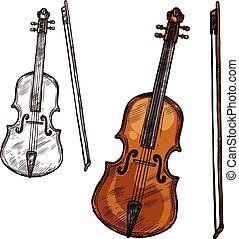 Vector sketch violin contrabass music instrument - Violin...