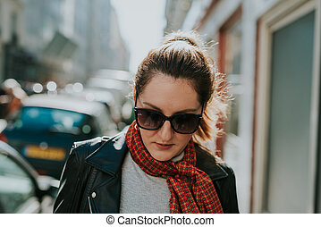 French woman in Paris - French woman walking on the streets...
