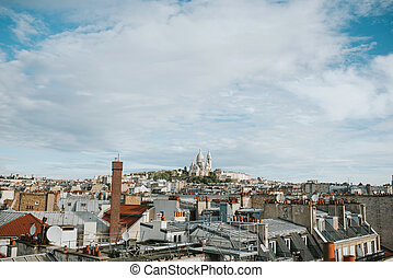 Roofs of Paris with Montmartre