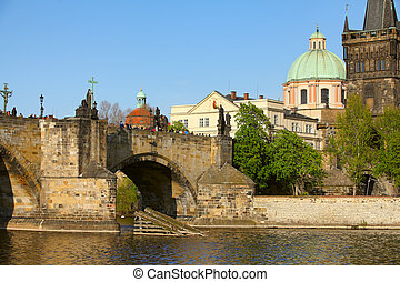 The Old Town with Charles Bridge over Vltava river in...