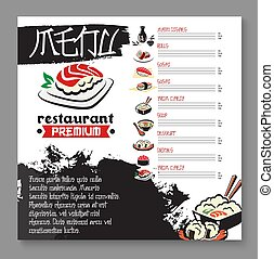 Vector menu for Japanese sushi food restaurant - Japanese...