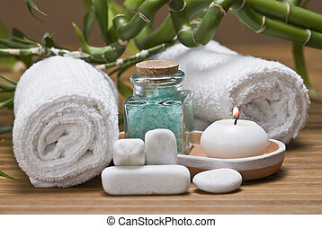 Spa 24. - Spa background witn a candle and bath salts.