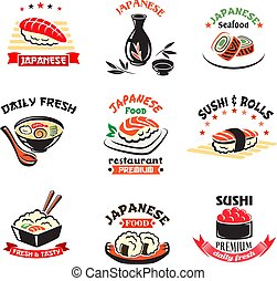 Vector icons set of Japanese sushi food restaurant -...