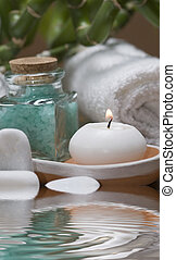 Spa 20. - Spa background witn a candle and bath salts.