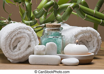 Spa 15. - Spa background witn a candle and bath salts.