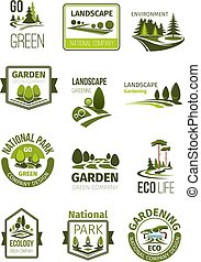 Green landscape and gardening company vector icons
