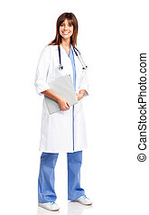 doctor - Smiling medical doctor with stethoscope Isolated...