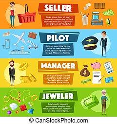 Vector banners seller, pilot, manager or jeweler - Pilot,...
