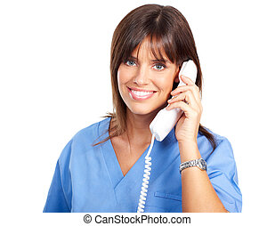 nurse with telephone - Smiling medical nurse with telephone...