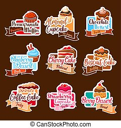 Bakery shop vector stickers for dessert cakes - Desserts and...