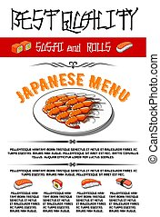 Japanese vector menu for sushi and rolls - Japanese sushi...