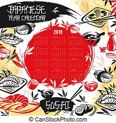 Japanese calendar 2018 of vector sushi design - Calendar...