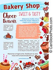 Bakery shop vector poster of dessert cakes - Desserts and...