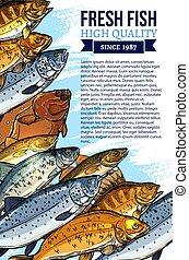 Vector fresh fish catch poster for market - Fishing poster...
