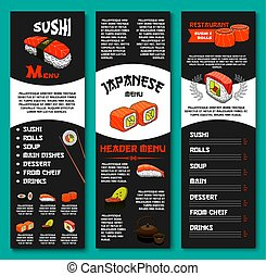 Japanese vector menu for sushi restaurant or bar - Japanese...