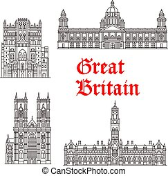 Architecture landmarks of Great Britain vector - Great...