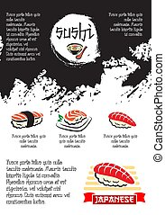 Vector poster for Japanese restaurant or sushi bar - Sushi...